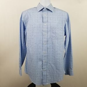 Jos A Bank Traveler Mens Blue Check Plaid Shirt